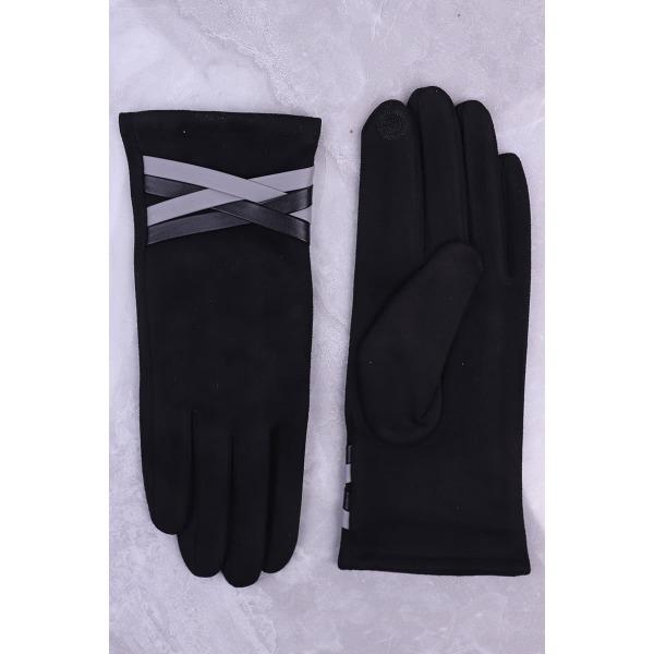 Faux Leather Cross Strap Glove Black
