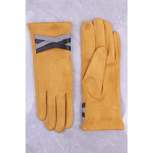 Faux Leather Cross Strap Glove Mustard