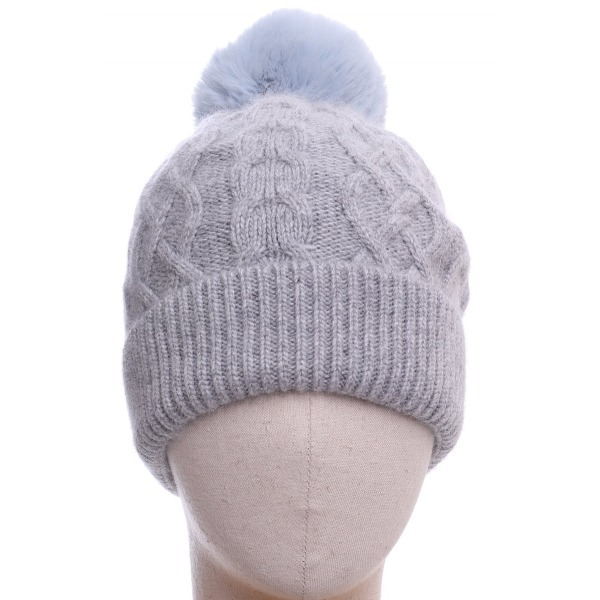 Aran Knitted Hat Blue