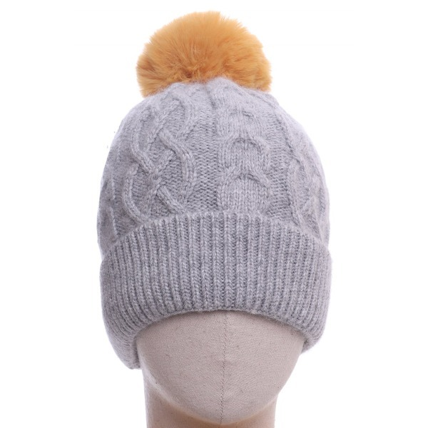 Aran Knitted Hat Yellow