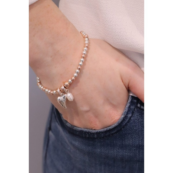 Heart & Pearl Stacking Bracelet