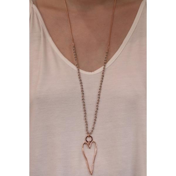 Rose Gold Open Heart Pendant