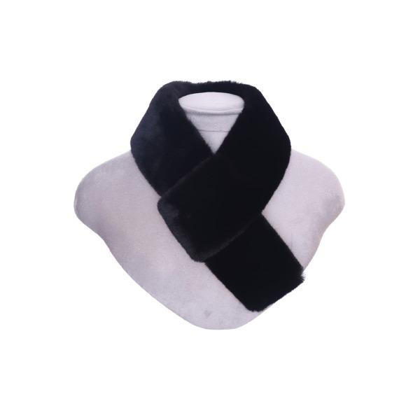 Luxury Faux Fur Pull Through Collar Black