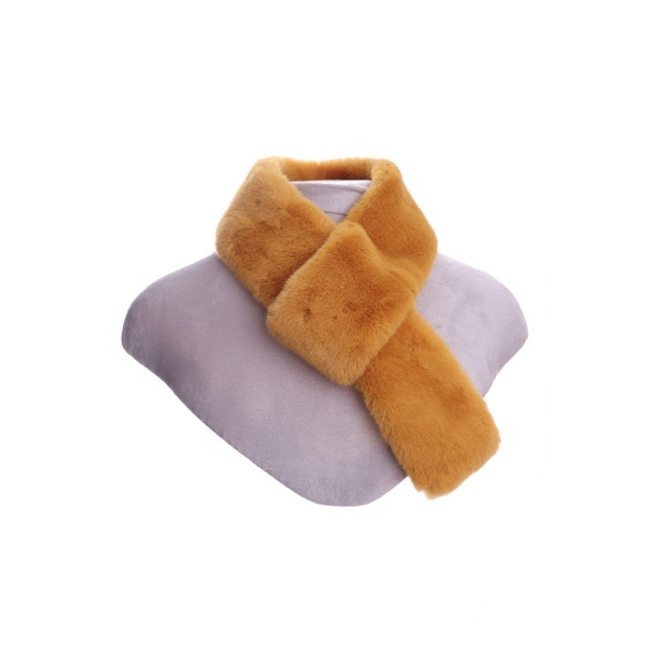 Luxury Faux Fur Pull Through Collar Mustard