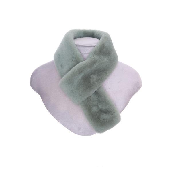 Luxury Faux Fur Pull Through Collar Green
